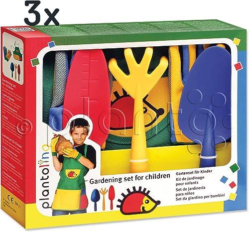 planto 90302 Größes Kinder-Gartenset plantolino, 5-teilig 3 Kinder Gartenger , 1 Paar Stretch-Kinderhandschuhe, 1 abwaschbare Kinderschürze in praktischer Geschenkbox, ab 4 J. (3 Sets)