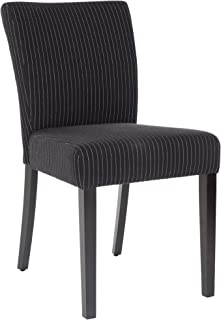 Safavieh Hudson Collection Camille Dining Chair, Black, Cream Stripe and Black, Set of 2
