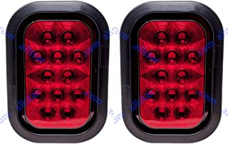 "[ALL STAR TRUCK PARTS] Qty 2-5x3"" Red Rectangle 12 LED Stop/Turn/Tail Truck Light Grommet & 3 Wire Pigtail Plug Kit"