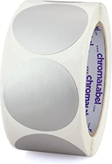 ChromaLabel 2 Inch Round Permanent Color-Code Dot Stickers, 500 per Roll, Metallic Silver