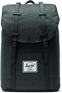 Herschel Retreat Backpack, Black Crosshatch/Black Rubber, Classic 19.5L, Retreat Backpack