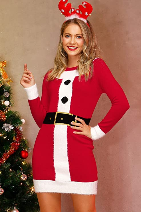 Christmas knit sweater dress for women, long sleeve mini dress party, Sant Women Christmas party dresses