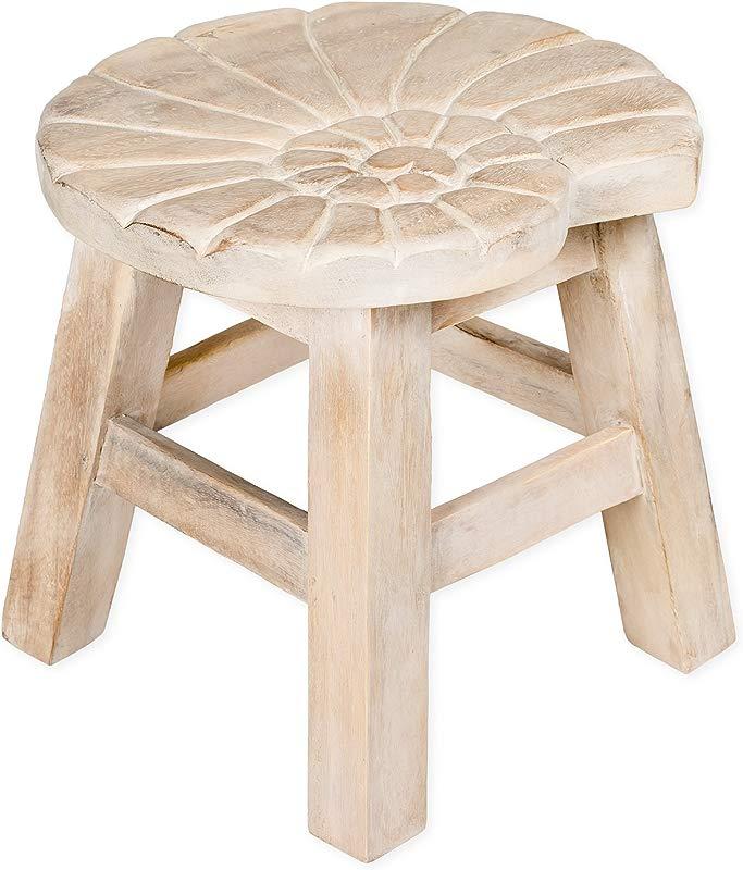 Nautilus Shell Whitewash Design Hand Carved Acacia Hardwood Decorative Short Stool