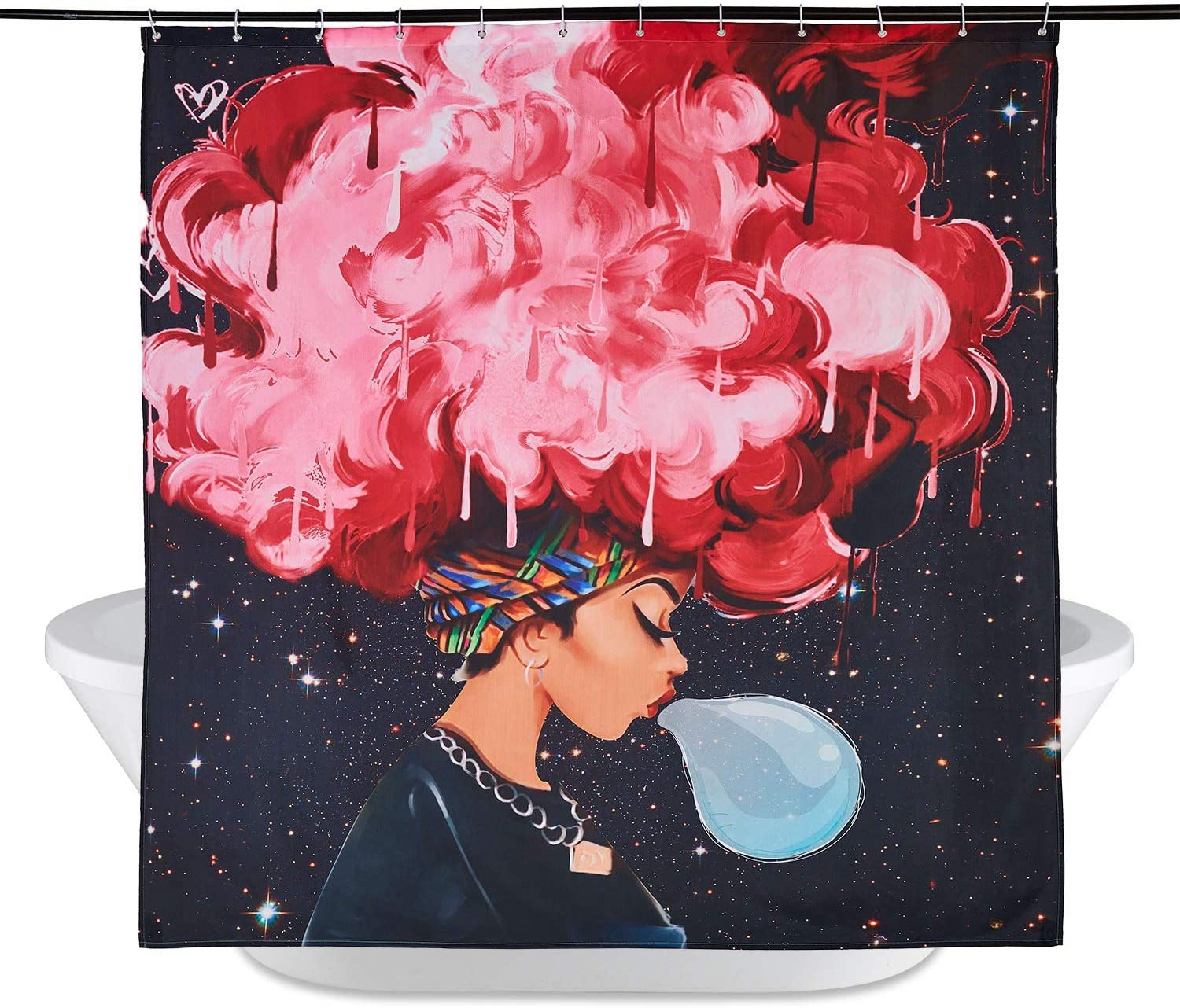 Blue Hair Afro Girl. UniTendo African American 3D Retro Style Print Waterproof Polyester Shower Curtain with 12 Hooks for Bathroom Decor,72 x 72 inches