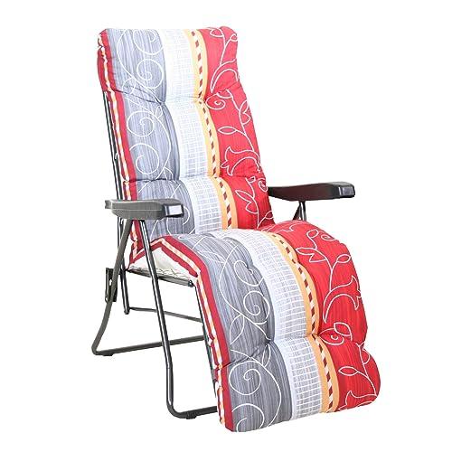 greemotion Chaise Longue Kiel, Bain de Soleil Rembourrée en Acier, Chaise de Jardin avec Dossier Réglable sur 7 Positions, Transat Pliable avec un coussin multicolore, Fauteuil Relax 100 x 59 x 97 cm