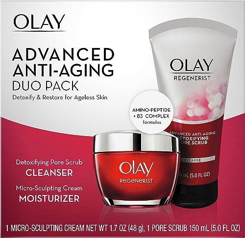 Olay Regenerist Advanced Anti-Aging Pore Scrub Cleanser (5.0 Oz) and Micro-Sculpting Face Moisturizer Cream (1.7 Oz) ...