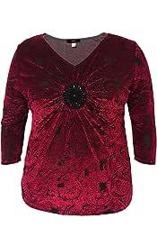 LEEBE Donna Plus Size Paisley Stampa Velvet Top