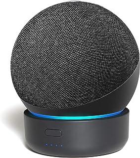 Base de bateria Alexa Echo Dot 4ª geração, GGMM D4 Tornar Amazon Dot 4 portátil, Pode jogar por 7 horas, Preto 5200mAh (Ap...