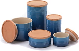 Le Creuset Marseille Stoneware 5 Piece Canister with Wooden Lid Set
