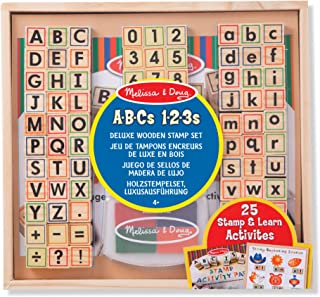 Melissa & Doug Deluxe Wooden Toy Stamp Set ABCs 123s Arts and Crafts Stamp Sets and Stencils 3+ Gift for Boy or Girl