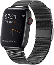 MCORS Compatible with Apple Watch Band 38mm 40mm 42mm 44mm,Stainless Steel Mesh Metal Loop with Adjustable Replacement Bands for Iwatch Series 5 4 3 2 1 Black
