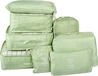 Vercord 8 Set Travel Packing Pods Luggage Organizers Cubes with Laundry Bags Accessories, Matcha Green