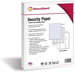 DocuGard Advanced Medical Security Paper for Printing Prescriptions and Preventing Fraud, CMS Approved, 7 Security Features, Laser and Inkjet Safe, Blue, 8.5 x 11, 24 lb., 500 Sheets (04545)