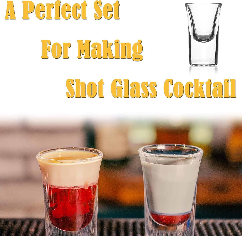 12pcs Perfect for Home Party SG01 Shot Glass Bar 1oz//30ml Shot Glass Set with 2 Bamboo Shot Glass Tray 12pcs Shot Glass Club