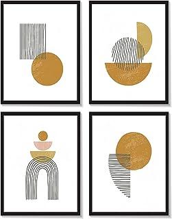 HappyWords® - Lot de 4 impressions d'art géométrique   N° 1   4 x DIN A4 21 x 29,7 cm – Sans cadre   Carton premium 300 g/...
