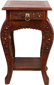 Artesia Wooden Designer Hand Carved Side Table, Brown