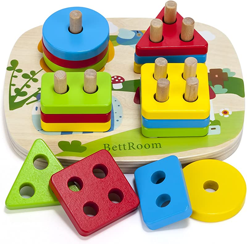BettRoom Toddler Toys For 1 2 3 4 5 Year Old Boys Girls Wooden Educational Preschool Shape Color Recognition Geometric Board Blocks Stacking Sort Kids Children Baby Non Toxic
