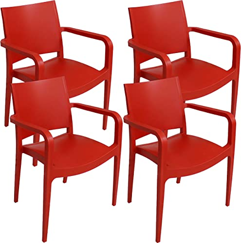 2021 Sunnydaze Landon Plastic Patio Dining Armchair Seat - Modern Design - Deck, Lawn and Garden Seat - Indoor discount or Outdoor Use - Commercial Grade All-Weather high quality - Red - 4 Chairs sale