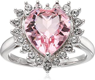 Sterling Silver Swarovski Light Rose Crystal and Clear Crystal Heart Ring, Size 7