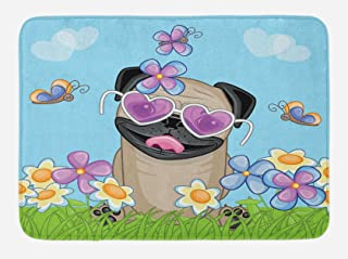 Ambesonne Pug Bath Mat, Puppy on The Field Flowers Butterflies Heart Shaped Clouds Open Sky, Plush Bathroom Decor Mat with Non Slip Backing, 29.5