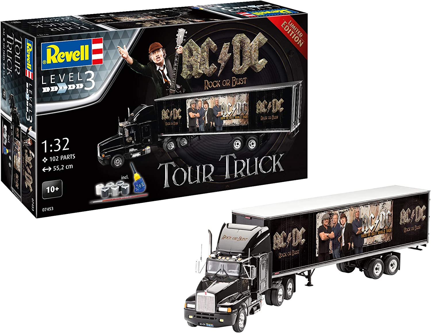 Revell- AC DC Tour Truck Rock or autobust Kit modellolo, MultiColoreeee, 55,2 cm, 07453
