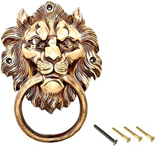 "eSplanade - 7.5"" Lion Mouth with Moulded Ring Brass Door Knocker 
