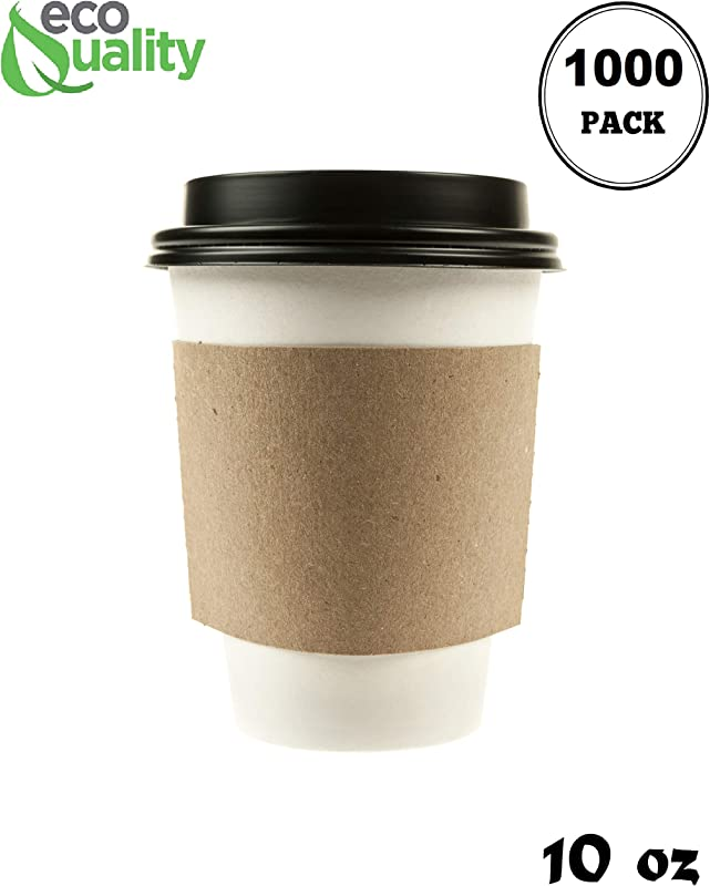 1000 Pack 10 Oz Disposable White Paper Coffee Cups With Black Dome Lids And Protective Corrugated Cup Sleeves Perfect Disposable Travel Mug For Home Office Coffee Shop Travel Tea