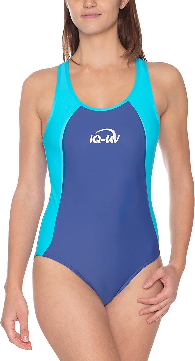 (Small Size 38, Turq-Navy) - IQ-UV Women's 300 Predective Clothing Uv Swim Suit
