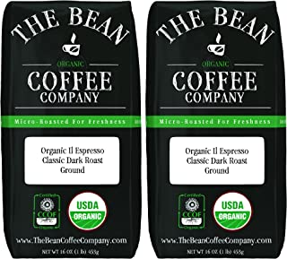 The Bean Coffee Company Organic Il Espresso, Classic Dark Roast, Ground, 16-Ounce Bags (Pack of 2)