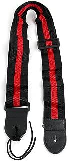 Red & Black Stripe Guitar Strap For Ibanez, Encore, Chicago, Tiger, Washburn & Rockburn Bass Guitars With Adjustible Buckle