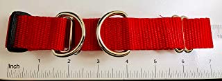 Red Martingale Collar, 1 inch with tag ring