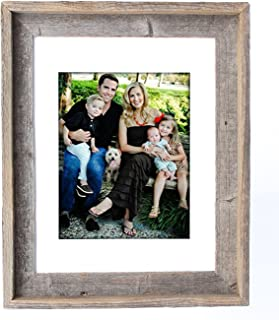 BarnwoodUSA 11X14 Inch Signature Picture Frame Matted for 8X10 Inch Photos - 100% Reclaimed Wood, White Mat