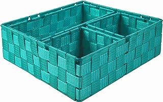Lot de 4 boîtes de rangement effet rotin tressé, pour cuisine, étagères, chambre à coucher, bureau.