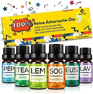 Set de Aceites Esenciales para Difusor,100% Natural Puro Aromaterapia Aceite Aromático,6 x 10 ml Essential Oils Set para H...
