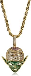TOPGRILLZ Hip Hop Dragon Ball Cartoon Piccolo 14K Gold Plated Iced Out Pendant Necklace Chain for Men