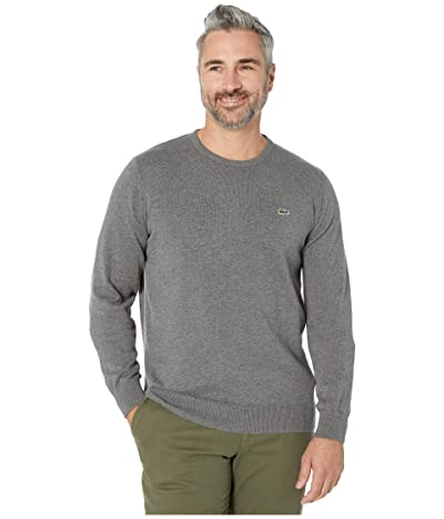 Lacoste Long Sleeve Half Moon Crew Neck Jersey Sweater (Galaxite Chine/Flour/Stone Chine) Men