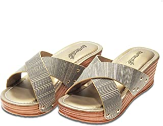 Butterflies Steps Casual Wedges/Sandals for Womens/Girls (Gold) (GHS-0041GDN)