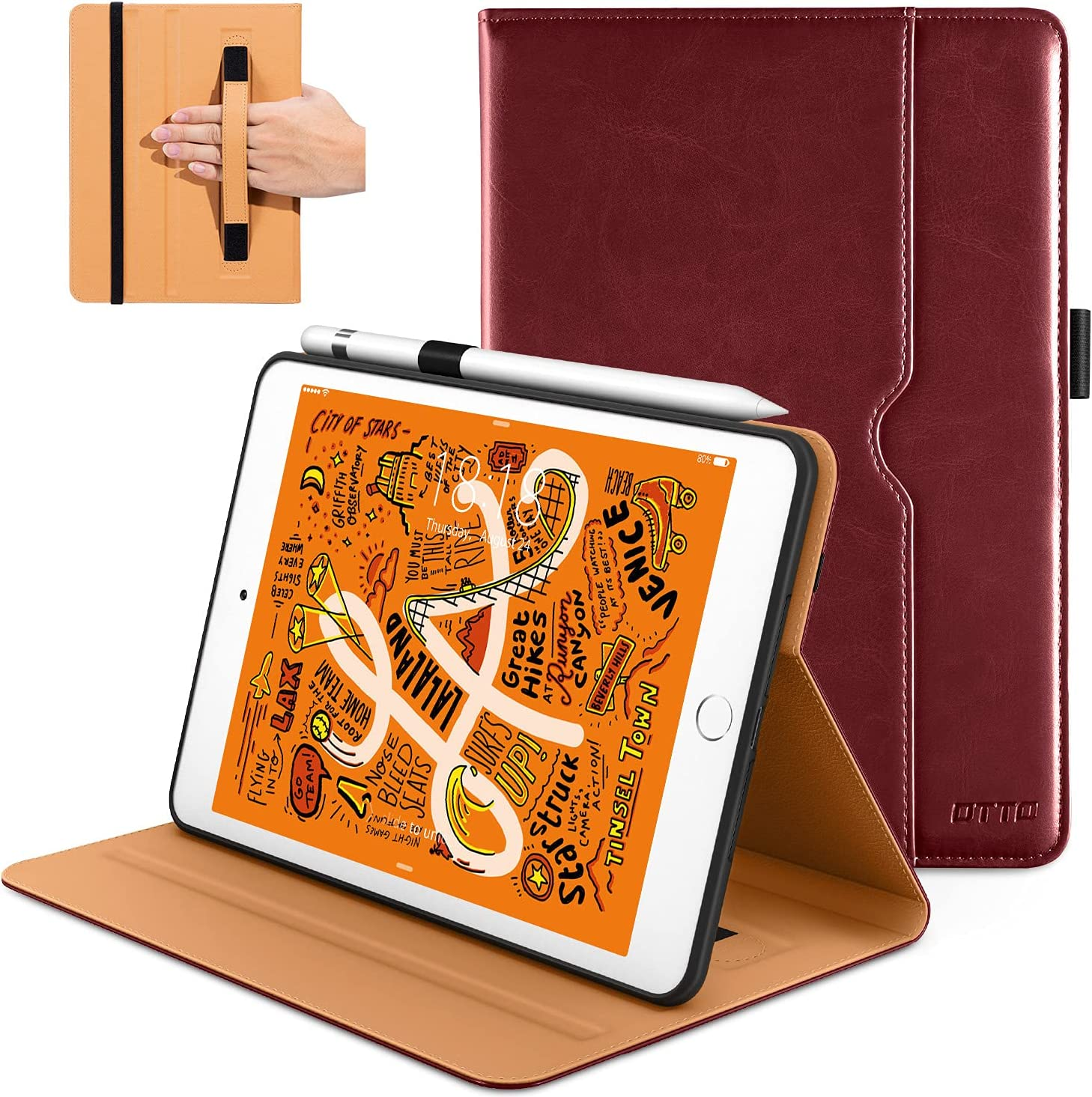 DTTO iPad Mini 5th Generation 2019 Case, [Noble Series] Leather Folio Cover Case with Apple Pencil Holder for iPad Mini 5 2019 [Auto Sleep/Wake],Burgundy Red