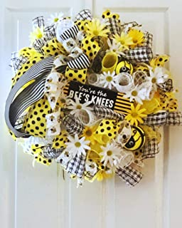 Bumblebee Daisy Deco Mesh Wreath, You're The Bees Knees