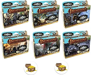Bundle of All 6 Pathfinder Adventure Card Game Skull and Shackles Expansion Decks and 2 Treasure Chest Buttons