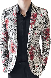 Men's Red Black Rose Print Casual Blazer
