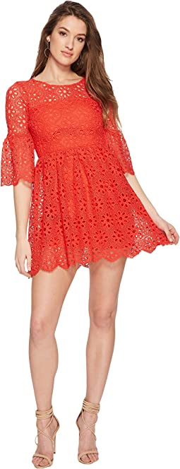 Lauper Floral Eyelet Fit and Flare Dress
