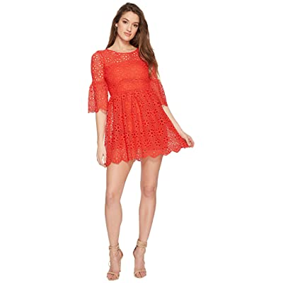 Jack by BB Dakota Lauper Floral Eyelet Fit and Flare Dress (Poppy Red) Women