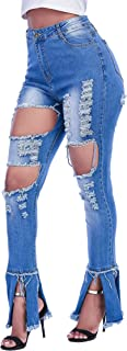 Womens Bell Bottom Ripped Jeans, High Waisted Destroyed...