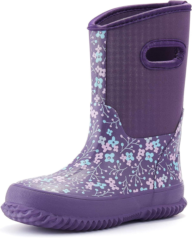 ALLENSKY Kids Neoprene Rain Boots,for Toddlers Kids Girls Boys Winter Warm Lightweight Outdoor Durable Muck Boots Snow Boots