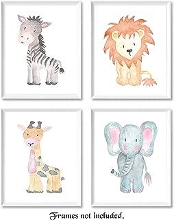 Baby Lion, Elephant, Giraffe, Zebra Poster Prints, Set of 4 (8x10) Unframed Photos, Wall Art Decor Under 20 for Home, Office, Studio, Nursery, Babies, Student, Teacher, Earth & Safari Animals Fan