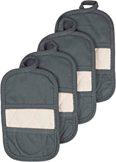 Ritz Royale Collection 100% Cotton Terry Cloth Mitz, Dual-Function Pot Holder/Oven Mitt Set, 4-Pack, Graphite