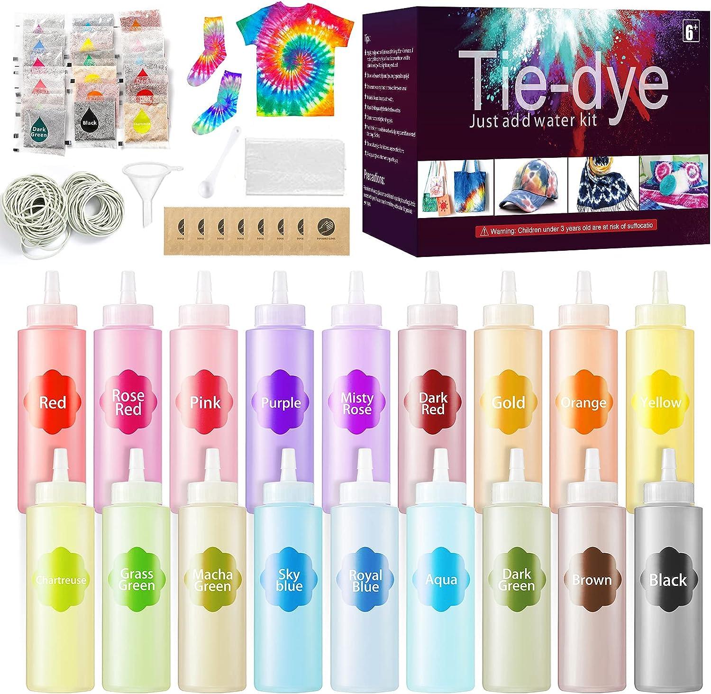 URBZUE 210 pcs Tie Dye Kit con 18 Colores, Kit para Tinte Ropa Tie Dye y Tela, Seguro y No Tóxico, Abundantes Accesorios, Vibrantes DIY Tie-Dye Kit para Niños y Adultos