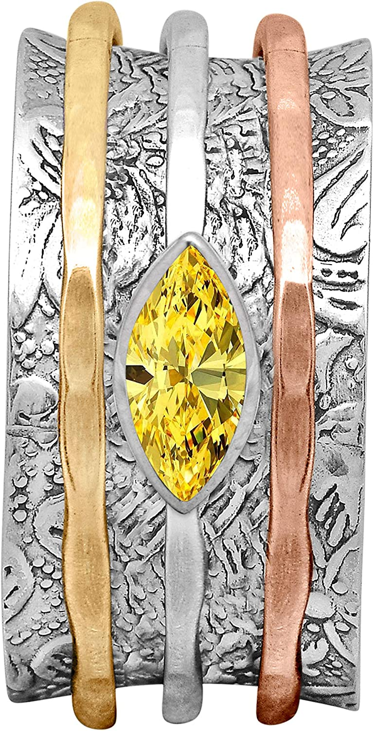 New arrival Shine Jewel Sale item Spinner Ring with Yellow Sterling Tone Triple CZ 925