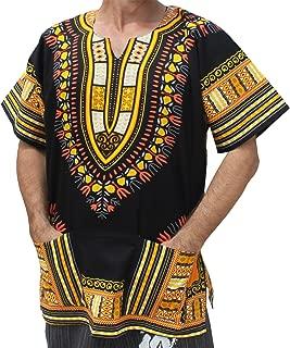 Raan Pah Muang Brand Unisex Bright African Black Dashiki Cotton Shirt